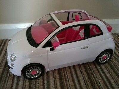 Barbie doll fiat 500 car white