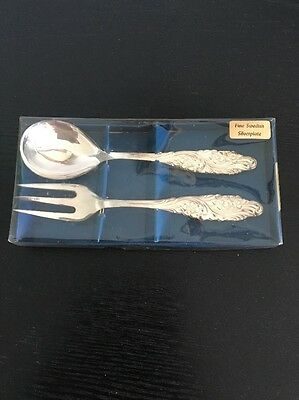 SWEDISH Silver Plated Serving Spoon & Fork with Floral Handles in Original Box