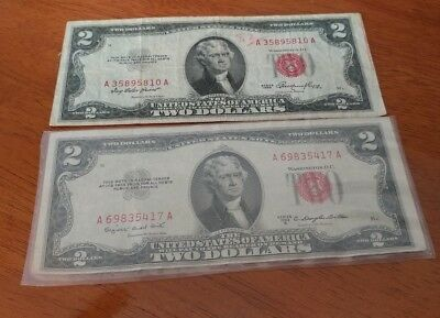 2  1953  $2 Two Dollar Bill, Red Seal , United States Notes
