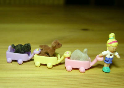 Polly Pocket Mini ♥ Li'l Pet Carts Set ♥ Polly 3 Tierchen ♥ 100% Komplett ♥1993♥
