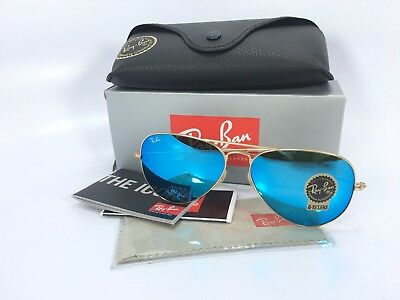 Ray Ban Aviator RB3025 112/17 58/14 Gold Blue Mirror Lens 58mm