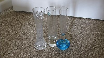 3 Rose vases Glass