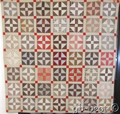 Pennsylvania Farmhouse c 1880 Hole in Barn Door QUILT Antique Browns Red