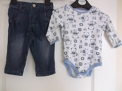 Boys M&S Soft Jeans and TU Blue and White Teddy Popper Top age 6-9 Months