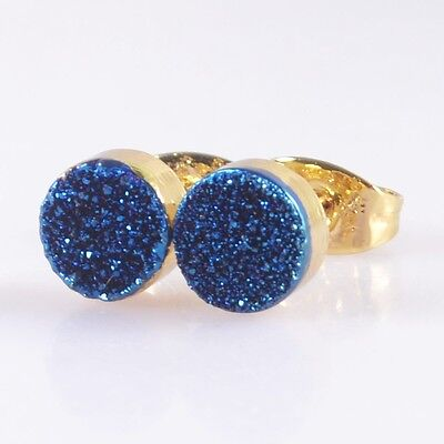 7mm Round Natural Agate Titanium Blue Druzy Stud Earrings Gold Plated B039354