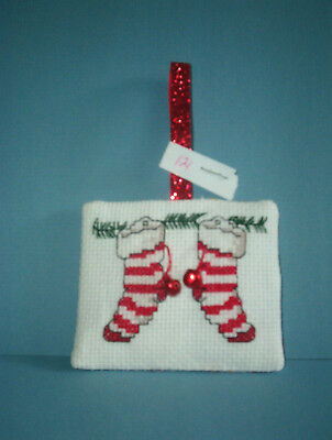 Finished Cross Stitch Christmas Ornament- Pair of Stripped Stockings #121