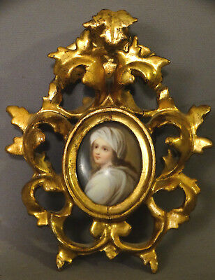 Antique ITALIAN ROCOCO Old GILT Wood CARVED FRAME & PORCELAIN Portrait PAINTING