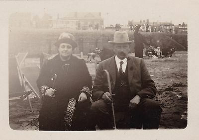 Antique Snapshot Photo - Couple Sitting On Beach - Blackpool c1925 - Promenade