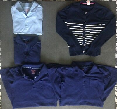 Girls lot of school uniforms SZ 7-8 Blue & Baby Blue & Sweater & Polo Dresses