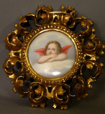 Antique ITALIAN Winged Putti PAINTING PORCELAIN Plaque ROCOCO Wood CARVED FRAME