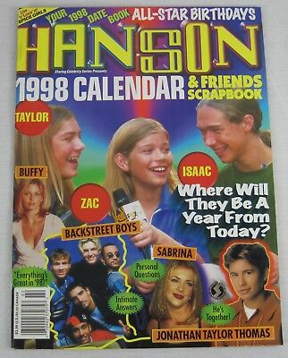 Hanson 1998 Calendar Magazine All Star Birthdays Date Book Jonathan Sabrina New