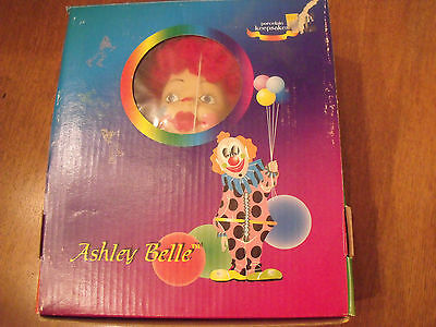 New In Box Ashley Belle Porcelain Keepsakes Marionette Clown Doll Hand Crafted