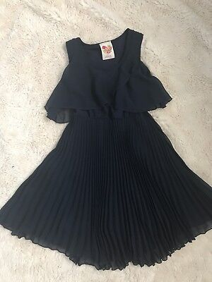 Girls Navy Blue Pleated Dress Size 8