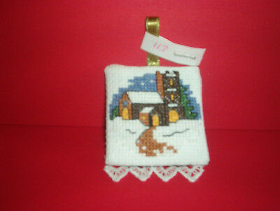 Finished Cross Stitch Christmas Ornament- Winter Castle # 113