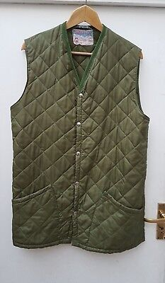 Men's Rare Vintage Green Husky of Tostock Quilted Waistcoat Jacket Size 40L