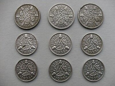 George V 9 Silver Coins, Sixpence 1929,30,34.Threepence 1931,32,33,34,35,&1936.