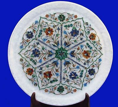 """14"""" Floral  makrana Marble plate tray inlay Marquetry Malachite Lapis tTAb"""