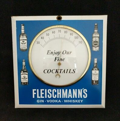 Vintage Advertising Fleischmann's Gin Vodka Whiskey Porcelain Thermometer Rare