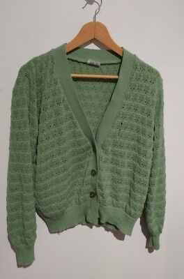 Vintage duck egg blue/green crocheted cardigan. Size 10/12