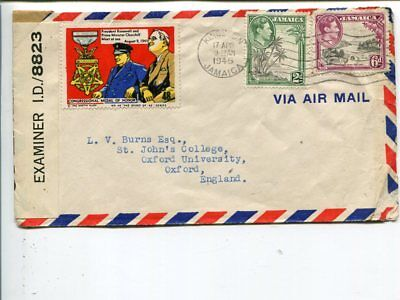 Jamaica censor airmail cover to England 1945