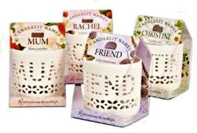 Personalised Candlelit Names Tea Light Holders Birthday Gift Choice of Names