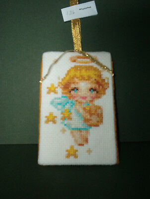 Finished Cross Stitch Christmas Ornament-  Golden Angel # 136