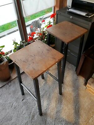 Pair of Vintage school lab stools