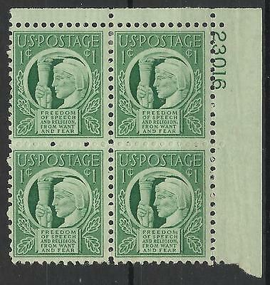 United States 1943 Four Freedoms Block Mint