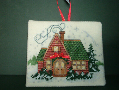 Finished Cross Stitch Christmas Ornament-  House with Red Ribbon # 134