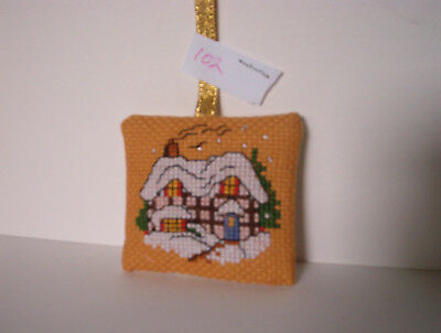 Finished Cross Stitch Christmas Ornament- Snow covered English Cottage  #102
