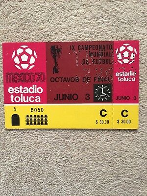 World Cup 1970 Ticket Italy V Sweden Toluca PERFECT UNUSED