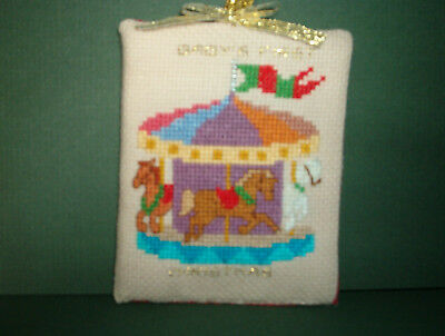 Finished Cross Stitch Christmas Ornament- Baby's First Christmas Carousel #64