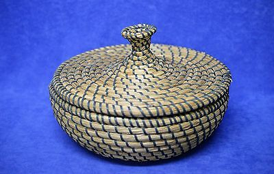 Unique Gray and Natural Color Charleston Sweet Grass Basket with Lid