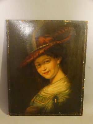 19thC Antique VICTORIAN LADY & Feather HAT Old OIL on Board PORTRAIT PAINTING
