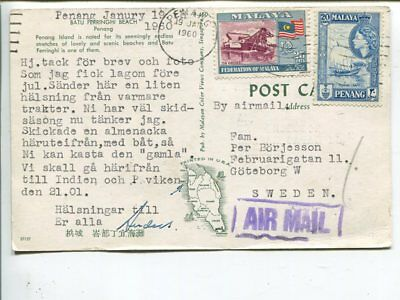 Malaya air mail post card to Sweden 1960