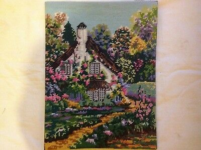 "Completed Collection D'art Tapestry 'Country Cottage' 12"" x 15.5"""