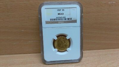 1907 $5 Liberty Head Gold Eagle Graded MS63 NGC Coin