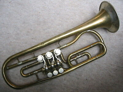 Nice  old rotary  trumpet  in F (?)  Needs repair