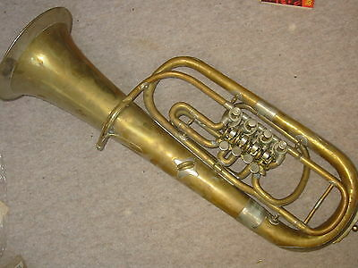 Nice old rotary 4 valved baritone or upright tenorhorn? needs service