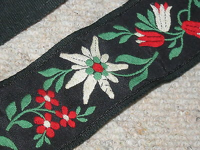 Beautiful,  old floral guitar (?) strap, hippie Style! Edelweiß
