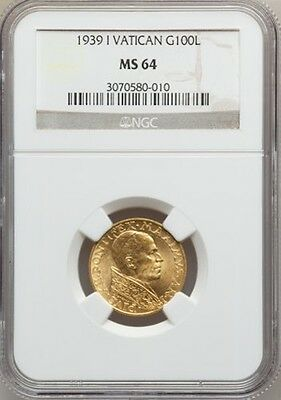 Vatican City  1939  100 Lire Gold Coin, Choice Uncirculated, Certified Ngc Ms-64