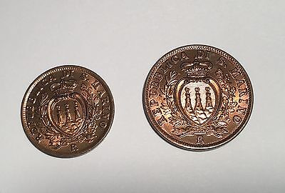 San Marino  1938-R 10 Centesimi, & 1935-R 5 Centesimi Coins, Superb Uncirculated