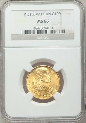 Vatican City 1931 100 Lire Gold Coin, Gem Uncirculated, Certified Ngc Ms-66