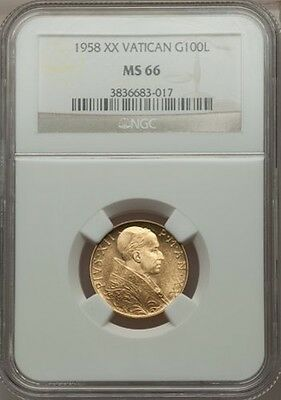 Vatican City 1958 100 Lire Gold Coin, Gem Uncirculated, Certified Ngc Ms-66