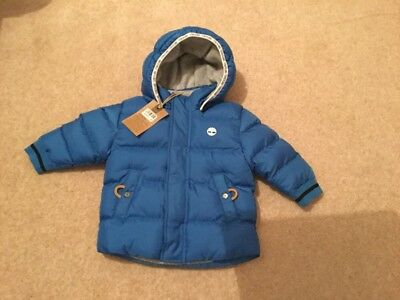 Timberland Baby Boy Blue Puffa Down Jacket. Size 18Months New With Tags