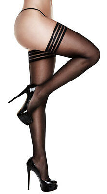 Queen Womens Plus Size Striped Top Thigh High Stockings, Plus Size Black Sheer