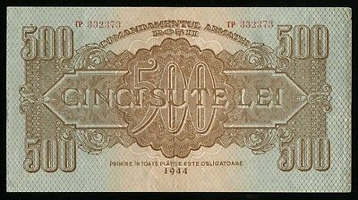 y138 ROMANIA 500 LEI 1944 M#14 RUSSIA RED ARMY OCCUPATION NOTE