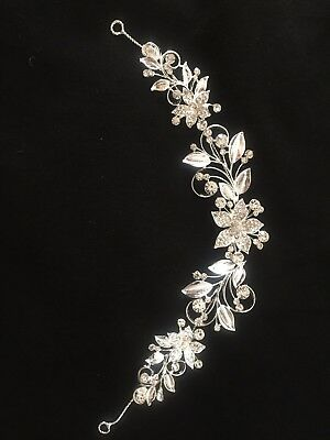 Pearl Wedding Hair Vine Bridal Accessories Diamante Headband 1 Piece New