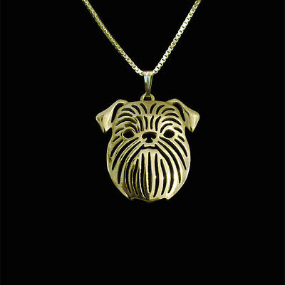 Brussels Griffon  Dog Pendant Necklace Gold Tone ANIMAL RESCUE DONATION