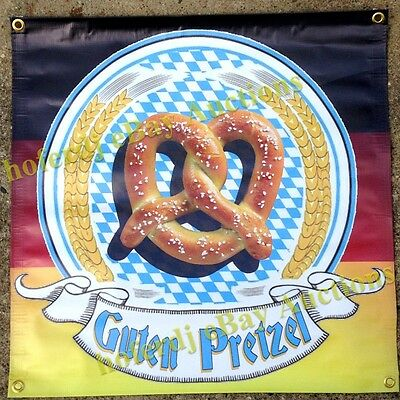 "Pretzel on German Flag Oktoberfest Banner 24"" x 24""  Fair Food Concession Sign"